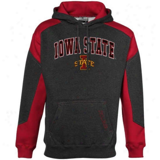 Iowa State Cyclones Charcoal-red Challenger Heathered H0ody Sweatshirt