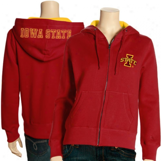 Iowa State Cyclones Ladies Red Academy Completely Zip Hoody Sweatshirt