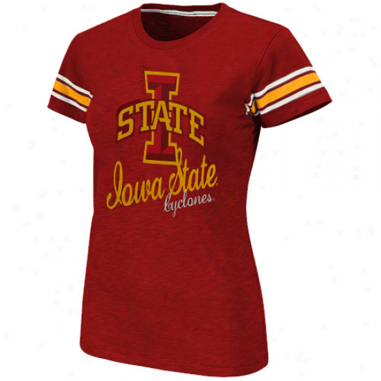 Iowa State Ladies Cyclones Backspin Slub T-shirr - Red