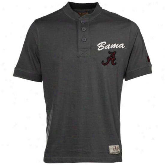 Izod Alabama Crimson Current Charcoal Standing Collar Premium Henley T-shirt