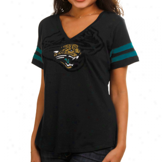 Jacksonville Jaguars Ladies Dream Premium V-neck T-shirt - Black