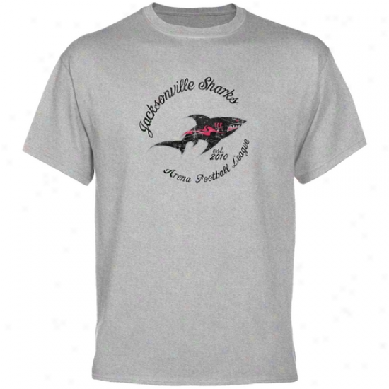 Jacksonville Sharks Ash Circle Script T-sbirt