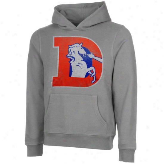 Junk Food Denver Broncos Distrewsed Logo Pullover Hoodie Sweatshirt - Ash