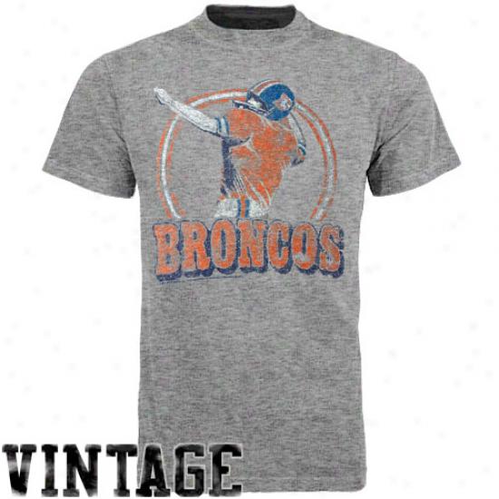 Junk Food Denvre Broncos Vintage Crew Premium Tri-blend T-shirt - Gray