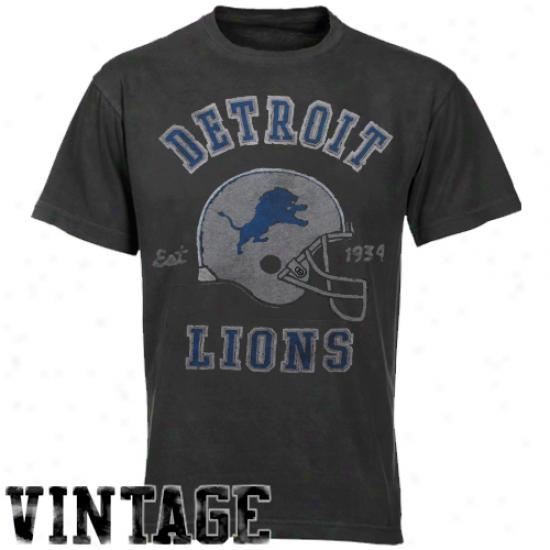 Junk Food Detroit Lions Vintage Crew Premium T-shirt - Black