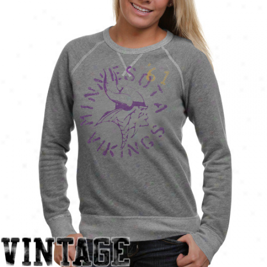 Junk Food Minnesota Vikings Ladies Ash Vintage French Terry Raglan Pullover Sweaatshirt