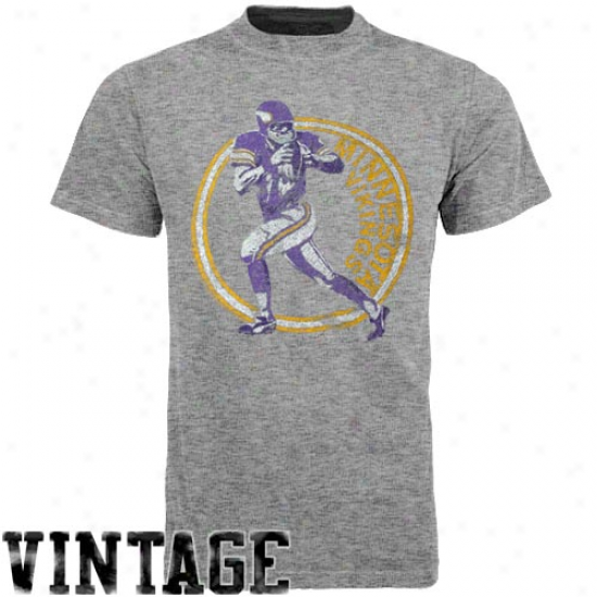 Junk Food Minnesota Vikings Vintage Crew Premium Tdi-blend T-shirt - Gray