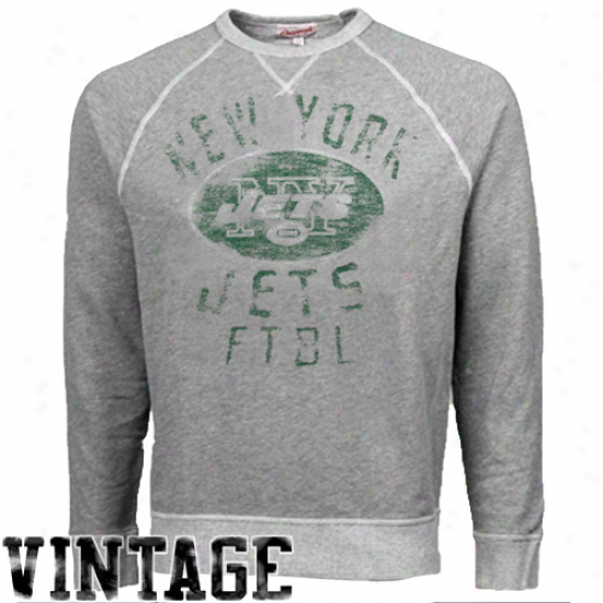 Junk Food New York Jets Ash Vintage French Terry Raglan Pullocer Sweatshirt