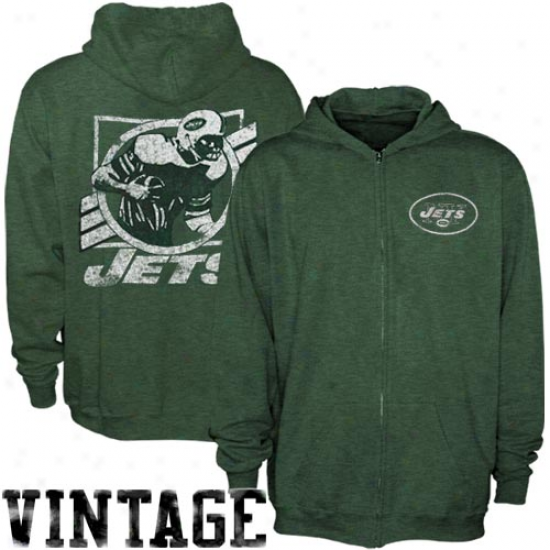 Junk Food New York Jets Green True Vintage Distressed Overdye Full Zip Hoody Sweatshirt