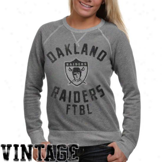 Junk Food Oakland Raiders Ladies Ash Vintage French Tetry Raglan Pullover Sweatshirt