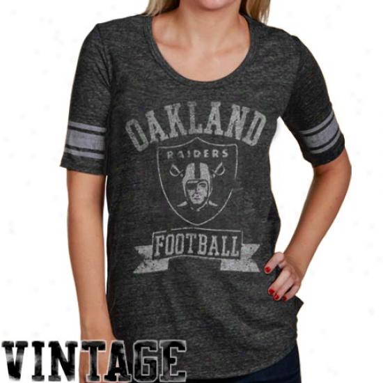 Junk Fo0d Oaklwnd Raiders Ladies Charcoal True Vintage Varaity Tri-blend Premium T-shirt
