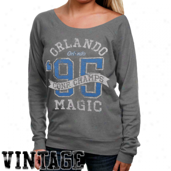 Junk Food Orlando Magic Ladies Champs Most distant Shoulder Premium Tri-blend Long Sleeve T-shirt - Ash