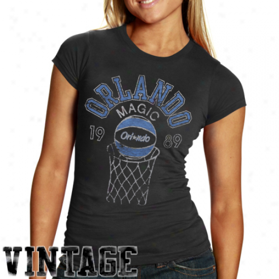 Junk Food Orlando Magic Ladies Heather Retro Logo Premium T-shirt - Black