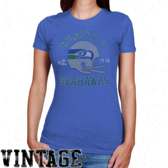 Junk Food Seattle Seahawks Ladies Vintage Helmet Crew Premium T-shirt - Light Blue