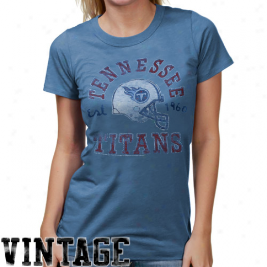 Junk Food Tennessee Titans Ladies Vintage Crew Junior's Premium T-shirt - Light Blue