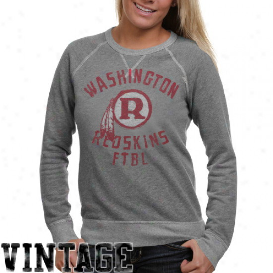 Junk Food Washington Redskins Ladies Ash Vintage French Terry Rag1an Pullover Sweatshirt