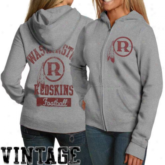 Junk Food Washington Redskins Ladies Hardness Gray True Vintage Distressed Ovrdye Full Zip Hoody Sweatshirt
