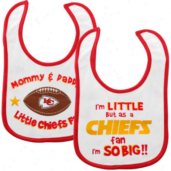 Kansas City Chiefs Infant White 2-pack Dribbler Bibs