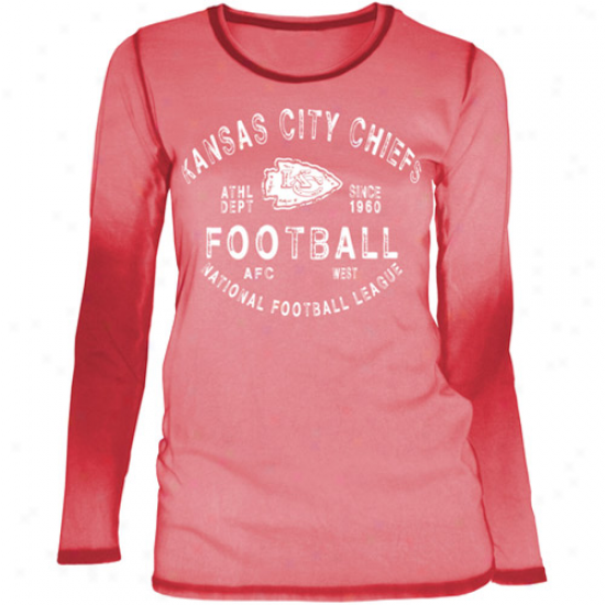 Kansas City Chiefs Ladies Sideline Spirit Seam Wash Premium Long S1eeve T-shirt - Re