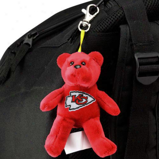 Kansas City Chiefs Red Plush Bear Keychain