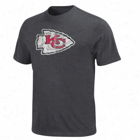 Kansas City Chiefs Vintage Logo Iii T-shirt - Charcoal