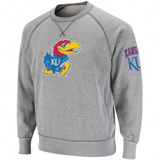 Kansas Jayhawks Ash Outlaw Crew Sweatshirt
