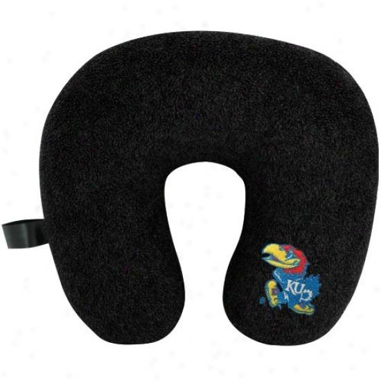 Kansas Jayhawks Black Travel Pillow