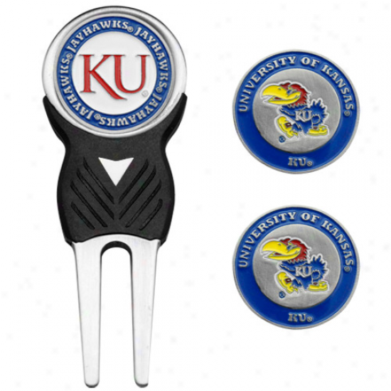 Kansas Jayhawks Divot Tool And Ball Marker Set