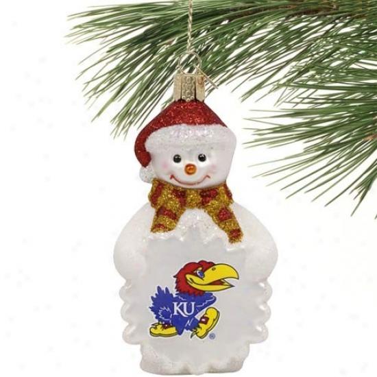 Kansas Jqyhawks Glass Snowman Ornament