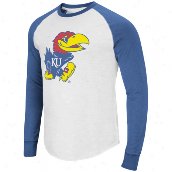 Kansas Jayhawks Pressbox Slub Raglan Long Sleeve T-shirt - White/royal Blue
