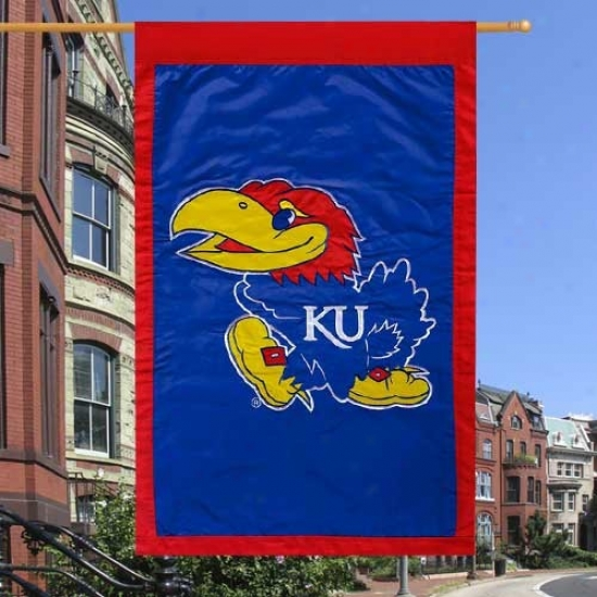 Kansas Jayhawks Royal Blue 28'' X 44'' Team Logo Applique Flag