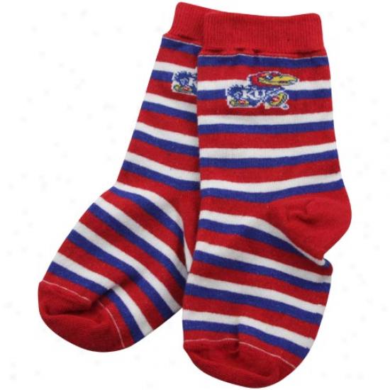 Kansas Jayhawks Toddler Red-royal Blue Sport Stripe Socks