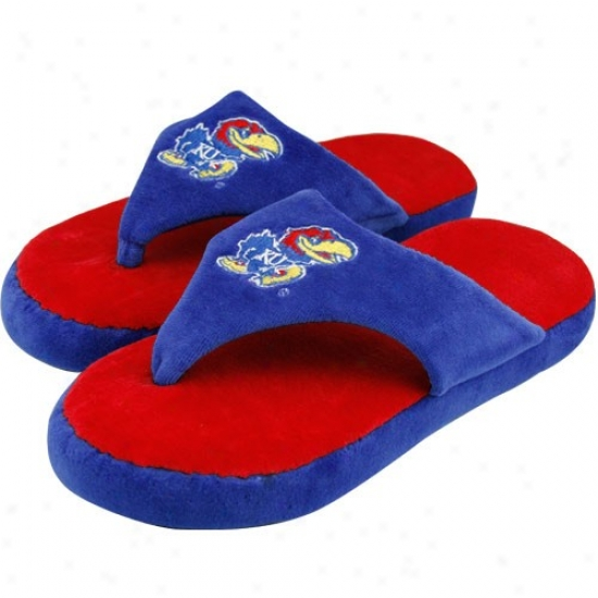 Kansas Jayhawks Unisex Crimson--royal Blue Comfyflop Indoor Flip Flop