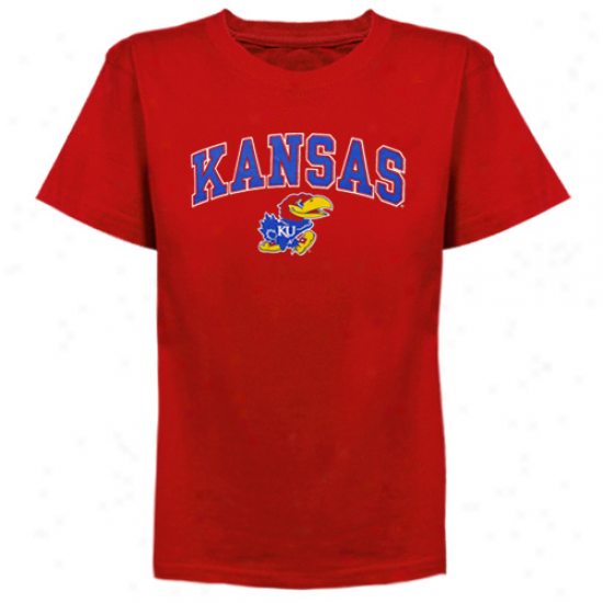 Kansas Jayhawks Youth Arched University T-shirt - Cardinal