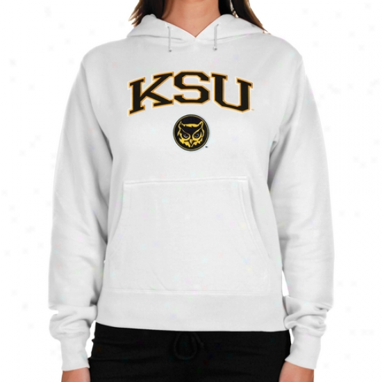 Kennesaw State Owls Ladies Logo Arch Applique Midweight Pullover Hoodie - White