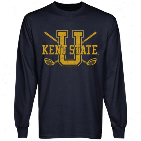 Kent State Golden Flashes Crossed Sticks Long Sleeve T-shirt - Nagy Blue