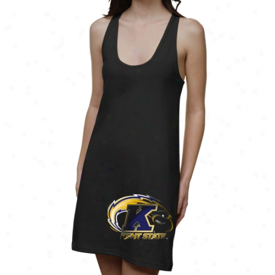 Kent Rank Golden Flashes Ladies Blacko8t Junior's Racerback Dress - Black