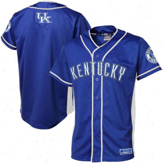 Kentucky Wildcats Fielder Baseball Full Button Jersey - Royal Blue