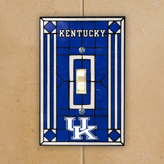 Kentucky Wildcats Royal Blue Art Glass Switch Plate Cover
