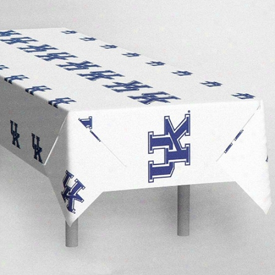 """kentuckky Wildcats White Team Logo 54"""" X 108"""" Plastic Tablecover"""