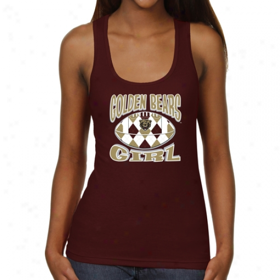Kutztow nGolden Bears Ladies Argyle Girl Junior's Ribbed Tank Top - Maroon