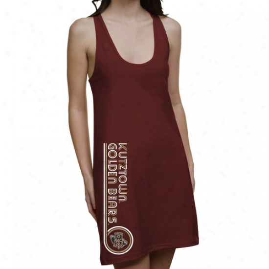 Kutztown Golden Bears Ladies Retro Junior's Racerback Prepare - Maroon