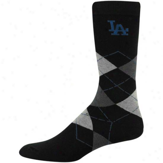 L.a. Dodgers Black Argyle Dress Socks