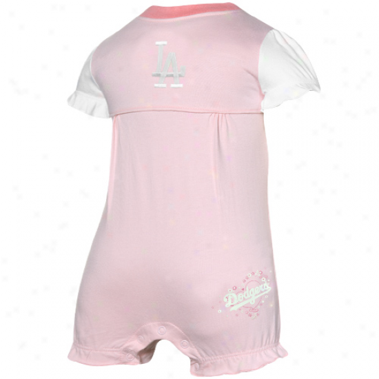 L.a. Dodgers Infant Girls Pink Ruffled Romper