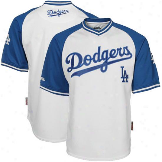 L.a. Dodgers Mesh Pullover V-neck Jrsey - White