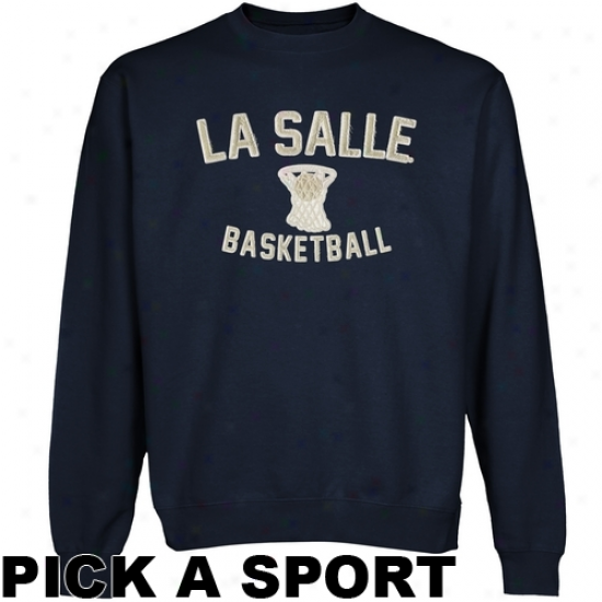 La Salle Explorers Legacy Crew Neck Fleece Sweatshirt - Navy Blue