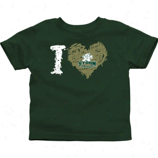 Lake Erie College Storm Toddler Iheart T--shirt - Green
