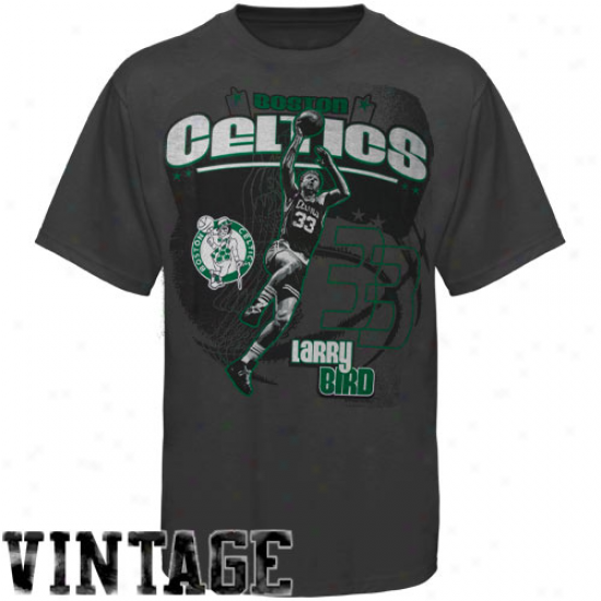 Larry Bird Boston Celtics Triple Double T-shirt - Charcoal