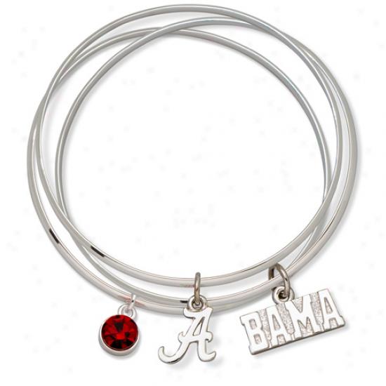 Logo Art Alabama Crimson Tide Ladies Spirit Crystal Bangle Bracelet Set