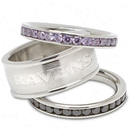 Logo Art Baltimore Ravens Laries Spirit Crystal Stacked Ring Set